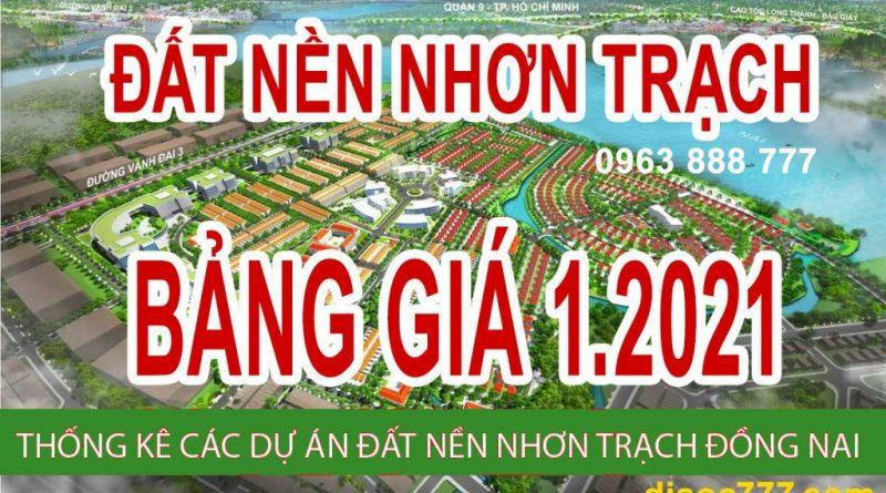 01-01-2021 Cập nhật bảng giá đất nền Nhơn Trạch